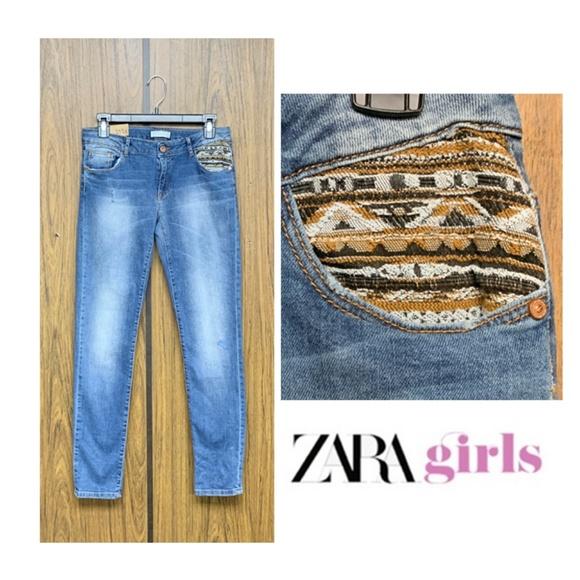 Zara Other - NEW Zara Girls Tribal Patch Slim Jeans 13/14